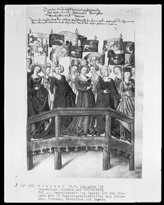 5/8/2012 - Bildindex der Kunst und Architektur - http://www.bildindex.de    Women with Banners (Das Wappenbuch Konrads von Grünenberg, Ritters und Bürgers zu Konstanz), c. 1480, Munich, Germany Bayerische Staatsbibliothek