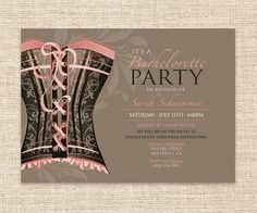 Printable Bachelorette Party Invitation - Girls Night Out Lingerie Party Invitation - Lingerie, Corset, Burlesque