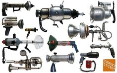 Cool Retro-styled rayguns made form found items- Steampunkguns