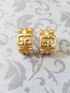 Authentic Givenchy Logo Gold Earrings - Excellent Gift for Wife  Designer Signed Vintage by mytimevintage on Etsy