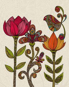 Flowers and bird