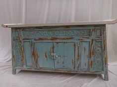Balinese Recycled Teak Hand Carved Console Cupboard Sideboard Dresser Blue White Teak Furniture, Painted Furniture, Thai Restaurant, Balinese, Hope Chest, Sideboard, Cupboard, Shelving, Hand Carved