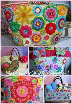 Aline in Wonderland Crochet Handbags, Crochet Purses, Crochet Mandala, Crochet Flowers, Crochet Crafts, Crochet Projects, Wicker Purse, Yarn Thread, Creative Embroidery