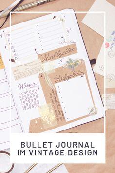 Eine schöne Vorlage zu gestalten deines Bullet Journal im Vintage Design Diy Blog, Tricks, Vintage Designs, Bullet Journal Ideas, Templates, Tutorials, Flowers, Dekoration, Nice Asses