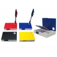 Shelf type 2 level opening system.5 colourful sticky note strip.on the upper side of shelf.A writing pad concealed on the lower side of shelf.paper clip and pin holder.Pen holder can be used when the top is open or closed.Branding space on top, sides and back.