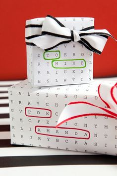 + Printable Word Search Gift Wrap For FREE! Awesome gift wrap idea using free, edit and print word search paper!Awesome gift wrap idea using free, edit and print word search paper! Diy Holiday Gifts, Unique Christmas Gifts, Christmas Gift Wrapping, Diy Gifts, Kids Christmas, Cheap Christmas, Wrap Gifts, Funny Christmas, Christmas Photos