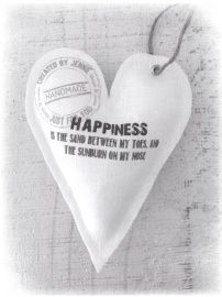 Wit linnen hart 'Happiness' www.createdbyjennie.nl