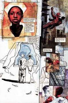David Mack Daredevil page 7x10 mixed media Mack uses a nice loose technique to keep the comic form flowing normally when the layouts are abstract and contrasting