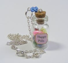 Happy Pills Necklace Pendant Miniature Food by NeatEats on Etsy, £12.99