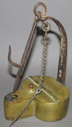 "Realized Price : $2,850   Peter Derr betty lamp Description: ca. 1848; having a brass reservoir, copper bottom, an iron arm stamped ""PD 1848"" with the original pick, chain and hanging hook, 3 3/16""x 3 5/8""x 6 ¼"";  Condition: Fine"