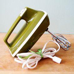 Vintage Kitchen Mixer, Sears Avocado Green Hand Mixer, 70s Retro Appliance, Three Speed Mixer