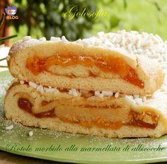 Rotolo morbido alla confettura di albicocche-ricetta dolci-golosofia
