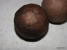 DIY: Faux Leather Decor Balls made from Styrofoam Balls, Brown Kraft Paper, Glue & Shoe Polish - Tutorial