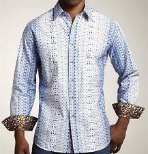 "Robert Graham ""SENTOSA"" (Sz L) GEOMETRIC Print + Embroidered Diamonds $228 NWT"