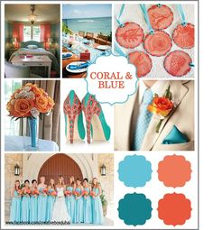 coral and blue wedding colour inspiration. Anything coral is beautiful Wedding Color Schemes, Wedding Colors, Colour Schemes, Color Palettes, Color Combos, Color Trends, Aqua Wedding, Dream Wedding, Teal Weddings