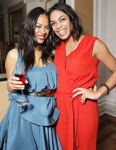 Zoe Saldana and Rosario Dawson flashed matching grins at Alfre Woodard's 2015 Oscars Sistahs Soiree in L.A. on Feb. 18.