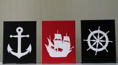 Pirate Nursery Decor Nautical Nursery Boys Pirate Decor Anchor Pirate's Ship Sailboat Wheel Steering Black Red White Acrylic Painting