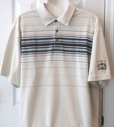 29a1ea7d Ashworth Golf men's polo shirt size in beige with brown stripes and the Ryder  Cup Valhalla