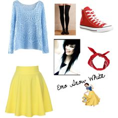 Emo Snow White by holgatelexi on Polyvore featuring polyvore, fashion, style, Hansel from Basel, QNIGIRLS, Converse and Boohoo