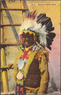 Native American Vintage Postcard - Navaho Indian Chief