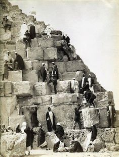 One day I'll go and see the piramids. Just one of a few places I've been saving for later. Climbing the Cheops Pyramid, Egypt, by Félix Bonfils Old Egypt, Ancient Egypt, Ancient History, Old Pictures, Old Photos, Vintage Photos, Pyramids Of Giza, Egyptian Art, Historical Photos