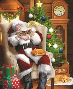 """Santa Cat Nap"" by Thomas Wood Christmas Scenes, Christmas Animals, Vintage Christmas Cards, Christmas Images, Santa Christmas, Winter Christmas, Xmas, Father Christmas, Beautiful Christmas Pictures"