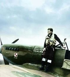 """british-eevee: """" Polish pilot standing on the wing of his Spitfire """""""