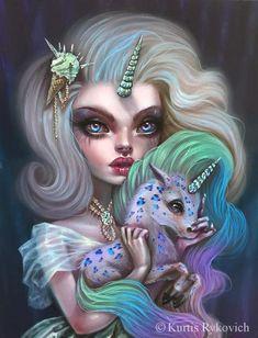 Unicorn and Unicorn Girl - Jasmine Becket-Griffith Unicorn Drawing, Unicorn Art, Cartoon Kunst, Cartoon Art, Cute Cartoon, Fantasy Creatures, Mythical Creatures, Arte Obscura, Unicorns And Mermaids