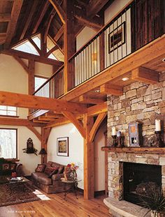 timber frame and fireplace