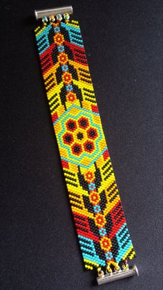 Cuff flower of peyote by PeyoteDeBreizh on Etsy
