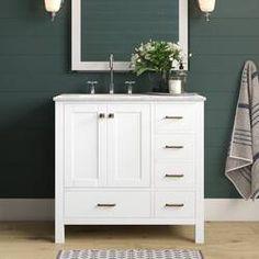 "Ka 36"" Single Bathroom Vanity Set & Reviews | Joss & Main Stone Mosaic Tile, Mosaic Wall, Bathroom Flooring, Kitchen Flooring, Bathroom Furniture, Bathroom Interior, Shower Floor, Tile Floor, Single Bathroom Vanity"