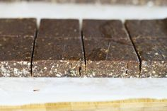 Homemade Larabars.  Just made these....really good!!  I divided by 2 and made 16 bars in a 9x9 pan.  133 calories each.