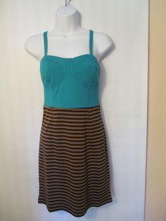 CECICO, Tournoies and Brown striped Dress, L #Cecico #Corset #Casual