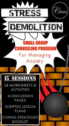 Stress Demolition: Group Curriculum To Overcome Anxiety and Worries Group Counseling, School Counseling, Negative Thoughts, Positive Thoughts, Behavior Reflection, Emotional Awareness, Therapy Games, Emotional Regulation, Behavioral Therapy
