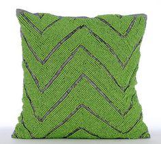 """Beaded Green Chevron 16""""X16"""" Art Silk Green Pillow Cases - Machu Picchu"""