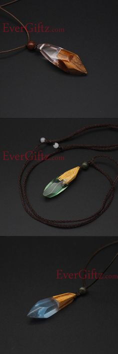 Sandalwood Handmade Resin Necklace Minimal Stick Charm Pendant Gift Jewelry Accessories Women