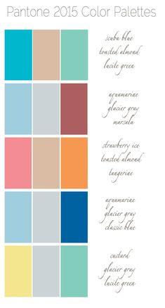 5 Fresh & Fun Color Palettes for 2015  - scuba blue, toasted almond, lucite green, aquamarine, glacier gray, marsala, strawberry ice, tangerine, classic blue, custard,