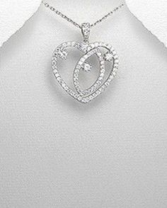 STERLING SILVER HAWAIIAN ALOHA SPARKLING SWIRLING HEART & STONE PENDANT NECKLACE