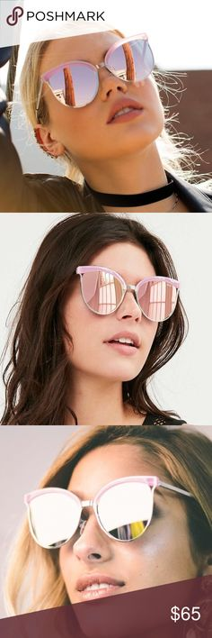 QUAY Stardust Cat Eye Sunglasses -PINK These sexy cat eye sunnies feature a metal frame, adjustable nose pads, mirrored lenses in FLIRTY PINK Polycarbonate and Metal Frame. Polycarbonate Lens. Stainless Steel Hinges. Cat.3 Lens. 100% UV protection.Width: 150mm. Height: 60mm. Nose Gap: 15mm. NO TRADE, PRICE FIRM PRE-ORDER : will ship 9/30 Quay Australia Accessories Sunglasses