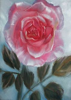 Nfac Original Pink Rose Blue Sky Oil Painting Nibblefest Challenge Pandalana | eBay