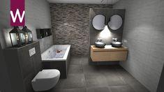 Donkere badkamer, praktisch ingericht met bad, dubbele wastafel, wc en inloopdouche. Kitchen Remodel, Toilet, Sweet Home, Bathroom, Furniture, Home Decor, Future House, Washroom, Flush Toilet