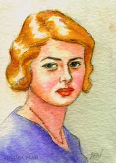"""4x6 print 5x7 celebrity painting art print small """"portrait of young Ingrid"""" wall art home decor"""