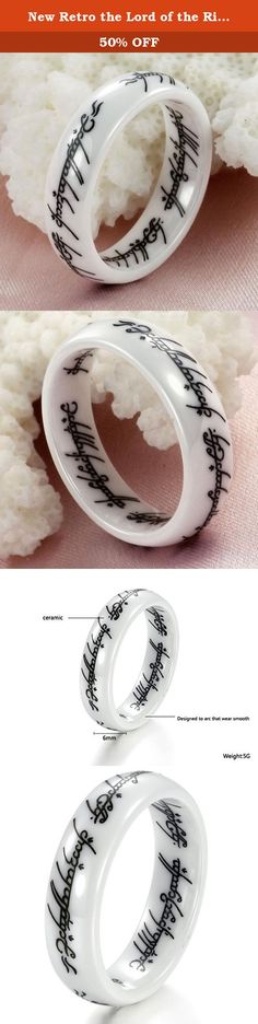 New Retro the Lord of the Rings White Ceramic Finger Band Words Top Quality 216 (7). Name:New Retro the Lord of the rings white ceramic finger Band words top quality 216 Brand name:Dreamslink Model Number:WJ216 Condition: 100% Brand new and high quality Quantity: 1PCS Material: ceramic Ring size:Size selectable Gender:men's his Width:: 6mm Weight:5G Packaging:opp bag inside and carton outside,and giving a beautiful silk bag as a gift Pick size according to your finger ring, ring size is…