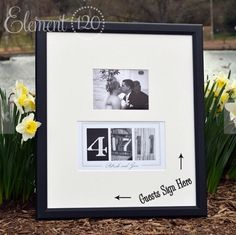 A guest book idea for my wedding. It is a picture frame with an open border for guests to sign.