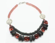 'Aane', grey & pink shades necklace ON SALE at www.madineurope.eu - #handmade #necklace #pink #murano #glass #glassbeads #accessories #fashion #shopping