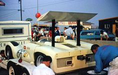 1965 Chaparral 2E on trailer in pits at Riverside International Raceway