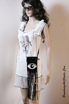 "Handmade, ""Eye"" suede cross body bag by BroadwayArtStudio on Etsy"