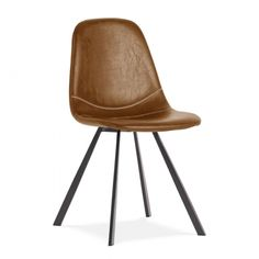 Our mid-century modern style Argyll dining chair is upholstered in easy-to-clean tan PU leather. Buy today for a stylish dining room tomorrow.