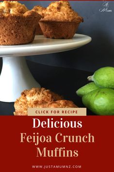 Absolutely delicious and oh so easy, you will love these Feijoa Muffins. The perfect balance, loaded with fruit and a delicious cruncy topping. Fejoa Recipes, Muffin Recipes, Baking Recipes, Whole Food Recipes, Recipies, Baking Muffins, Breakfast Dishes, Baking Cakes, No Bake Desserts