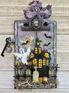 Halloween Paper Crafts, Halloween Tags, Halloween Haunted Houses, Fall Halloween, Halloween Decorations, Halloween Scrapbook, Halloween Pictures, Halloween Projects, Tim Holtz Dies